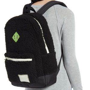 Herschel Black Sherpa Fuzzy Daypack Backpack